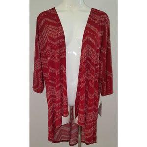 NWT LuLaRoe Lindsay Kimono Red White Chevron Print